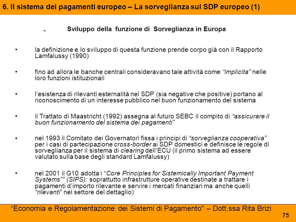 6. Il sistema dei pagamenti europeo – La sorveglianza sul SDP europeo (1) 75 Sviluppo della funzione di Sorveglianza in Europa la definizione e lo svi