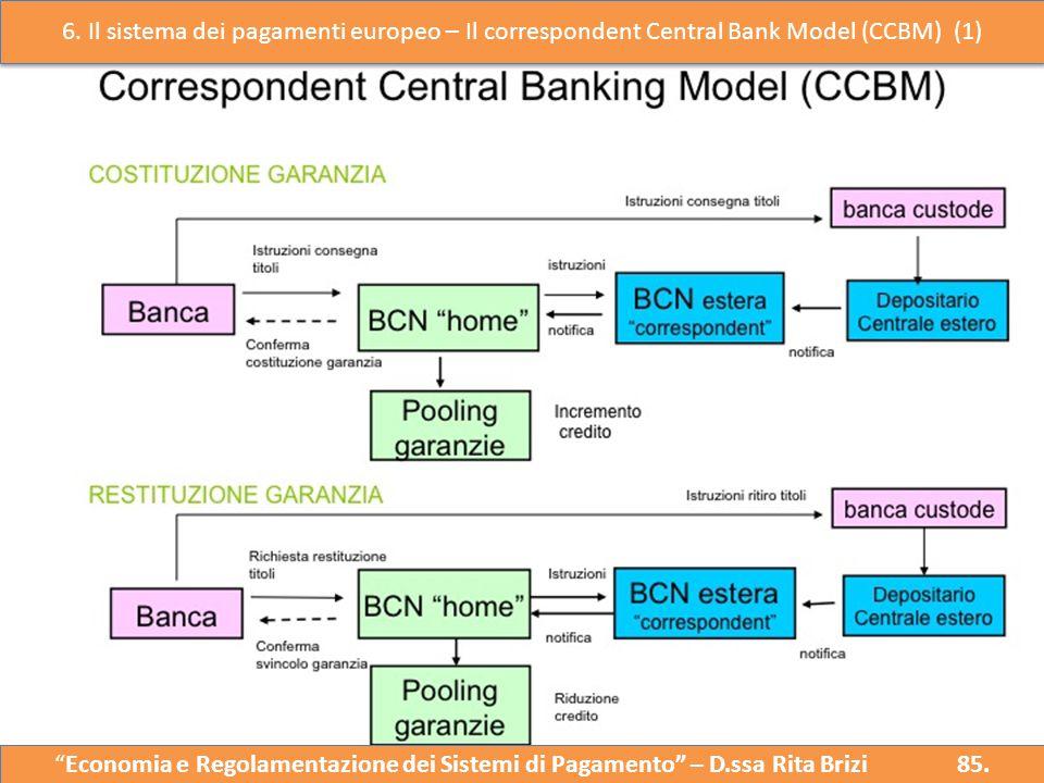 """Il Correspondent Central Bank Model (CCBM) """"Economia e Regolazione del Sistema dei Pagamenti"""