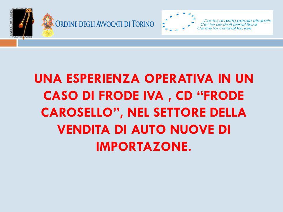 """UNA ESPERIENZA OPERATIVA IN UN CASO DI FRODE IVA, CD """"FRODE CAROSELLO"""", NEL SETTORE DELLA VENDITA DI AUTO NUOVE DI IMPORTAZONE."""