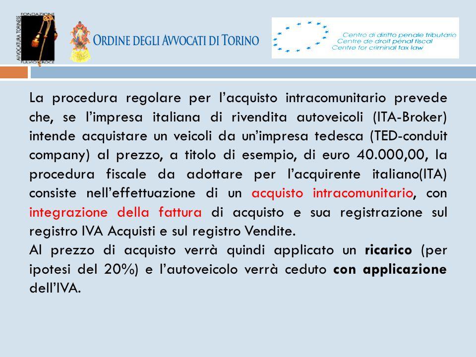 La procedura regolare per l'acquisto intracomunitario prevede che, se l'impresa italiana di rivendita autoveicoli (ITA-Broker) intende acquistare un v