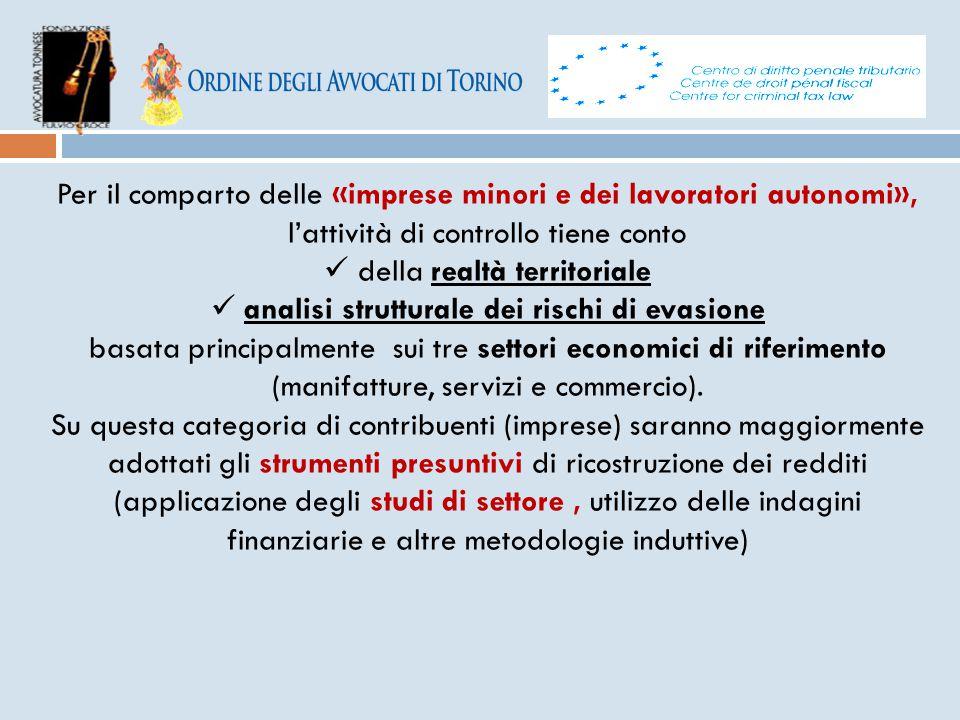 Per il comparto delle «imprese minori e dei lavoratori autonomi», l'attività di controllo tiene conto della realtà territoriale analisi strutturale de