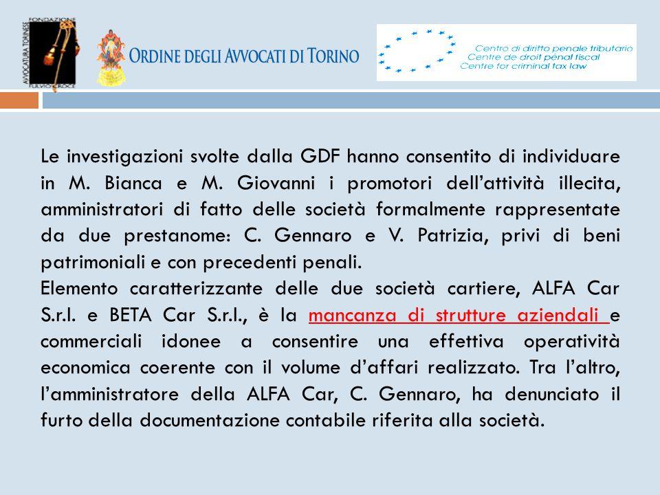 Le investigazioni svolte dalla GDF hanno consentito di individuare in M. Bianca e M. Giovanni i promotori dell'attività illecita, amministratori di fa