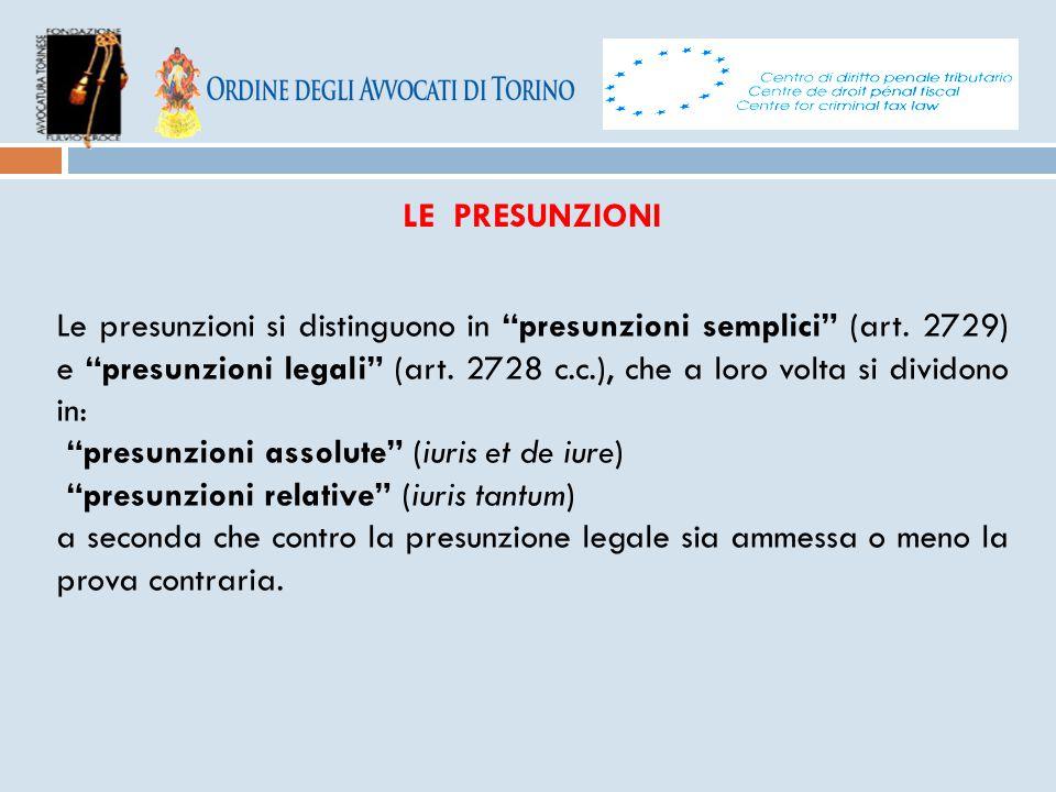 """LE PRESUNZIONI Le presunzioni si distinguono in """"presunzioni semplici"""" (art. 2729) e """"presunzioni legali"""" (art. 2728 c.c.), che a loro volta si divido"""