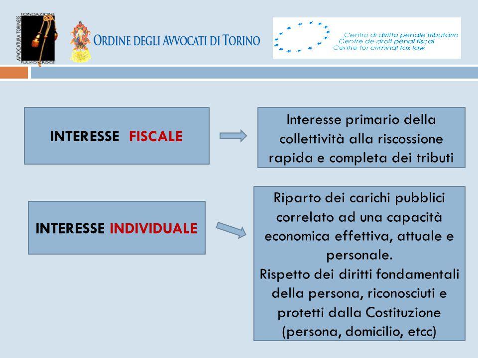 INTERESSE FISCALE Interesse primario della collettività alla riscossione rapida e completa dei tributi INTERESSE INDIVIDUALE Riparto dei carichi pubbl