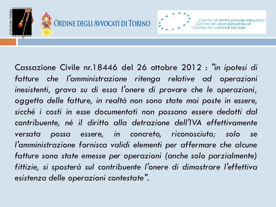 Cassazione Civile nr.18446 del 26 ottobre 2012 :