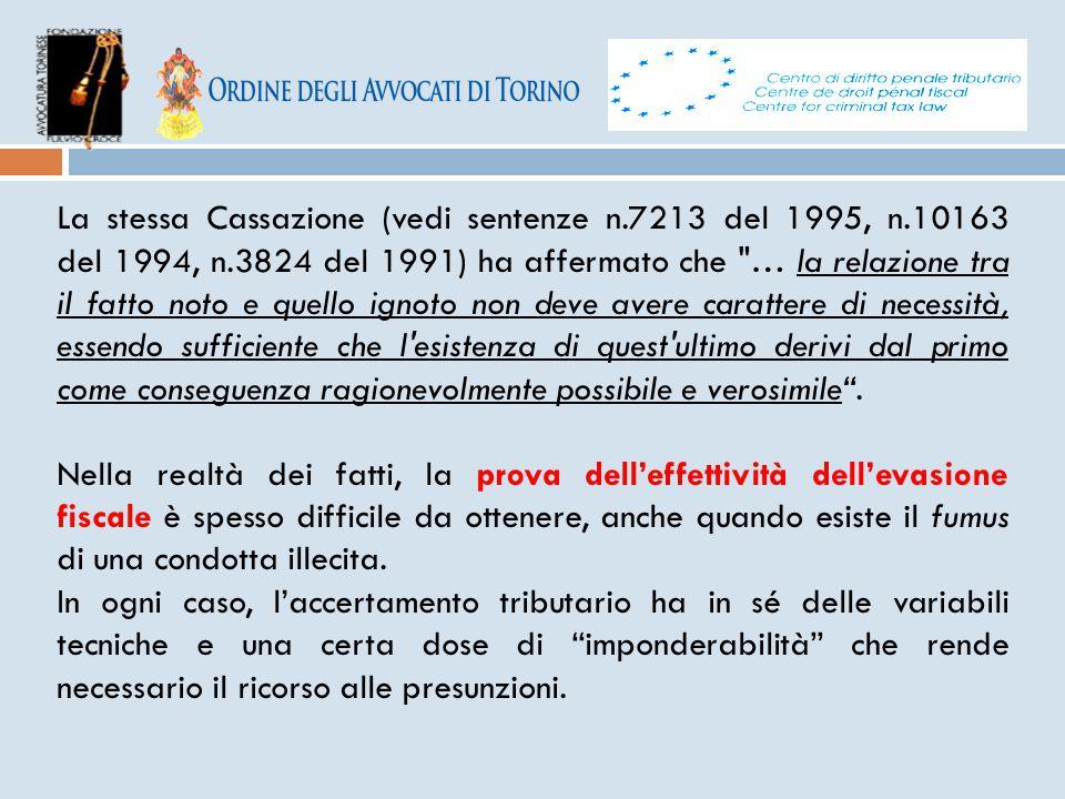 La stessa Cassazione (vedi sentenze n.7213 del 1995, n.10163 del 1994, n.3824 del 1991) ha affermato che