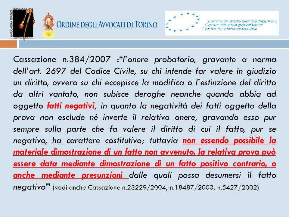 """Cassazione n.384/2007 :""""l'onere probatorio, gravante a norma dell'art. 2697 del Codice Civile, su chi intende far valere in giudizio un diritto, ovver"""