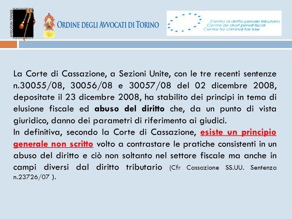 La Corte di Cassazione, a Sezioni Unite, con le tre recenti sentenze n.30055/08, 30056/08 e 30057/08 del 02 dicembre 2008, depositate il 23 dicembre 2