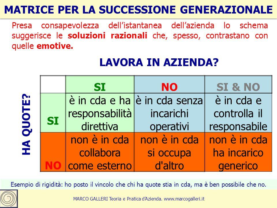 MATRICE PER LA SUCCESSIONE GENERAZIONALE 5 MARCO GALLERI Teoria e Pratica d'Azienda. www.marcogalleri.it SINOSI & NO SI è in cda e ha responsabilità d