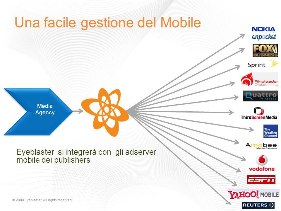 © 2008 Eyeblaster. All rights reserved Eyeblaster si integrerà con gli adserver mobile dei publishers Media Agency Una facile gestione del Mobile