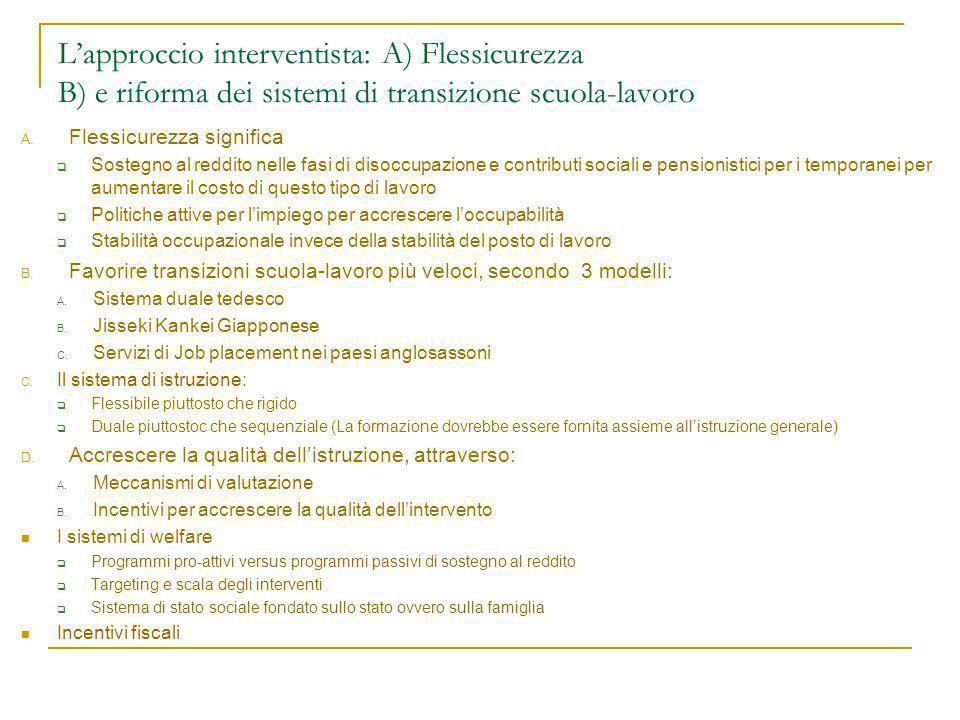 L'approccio interventista: A) Flessicurezza B) e riforma dei sistemi di transizione scuola-lavoro A.