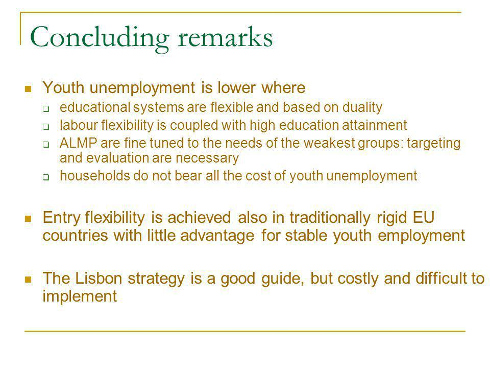 Concluding remarks Youth unemployment is lower where  educational systems are flexible and based on duality  labour flexibility is coupled with high education attainment  ALMP are fine tuned to the needs of the weakest groups: targeting and evaluation are necessary  households do not bear all the cost of youth unemployment Entry flexibility is achieved also in traditionally rigid EU countries with little advantage for stable youth employment The Lisbon strategy is a good guide, but costly and difficult to implement