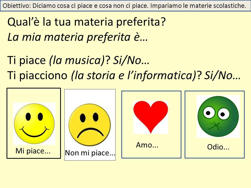 Qual'è la tua materia preferita? La mia materia preferita è… Ti piace (la musica)? Si/No… Ti piacciono (la storia e l'informatica)? Si/No… Amo... Odio