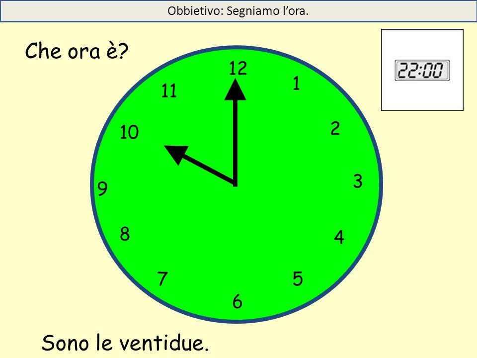 12 1 5 4 9 3 6 10 11 2 7 8 Sono le ventidue. Che ora è? Obbietivo: Segniamo l'ora.