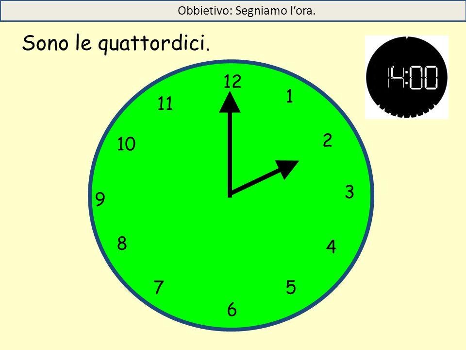 Sono le quattordici. 12 1 5 4 9 3 6 10 11 2 7 8 Obbietivo: Segniamo l'ora.