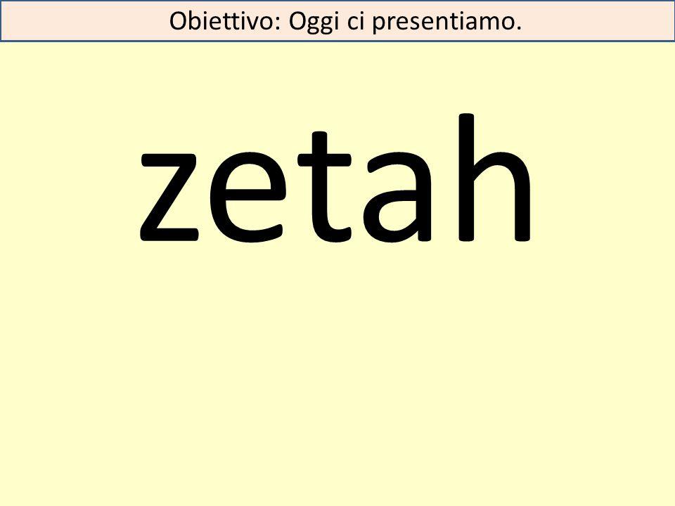 zetah Obiettivo: Oggi ci presentiamo.