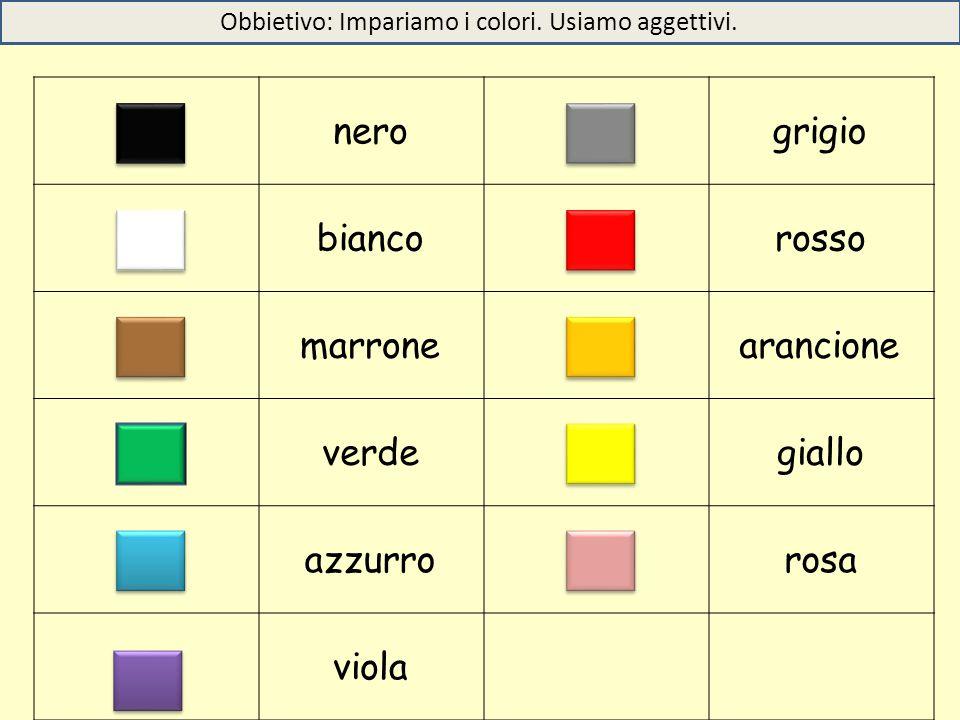 nerogrigio biancorosso marronearancione verdegiallo azzurrorosa viola Obbietivo: Impariamo i colori. Usiamo aggettivi.