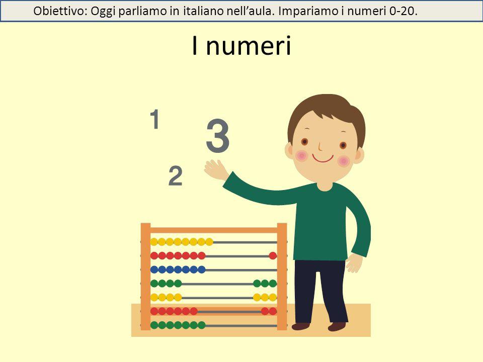 I numeri Obiettivo: Oggi parliamo in italiano nell'aula. Impariamo i numeri 0-20.