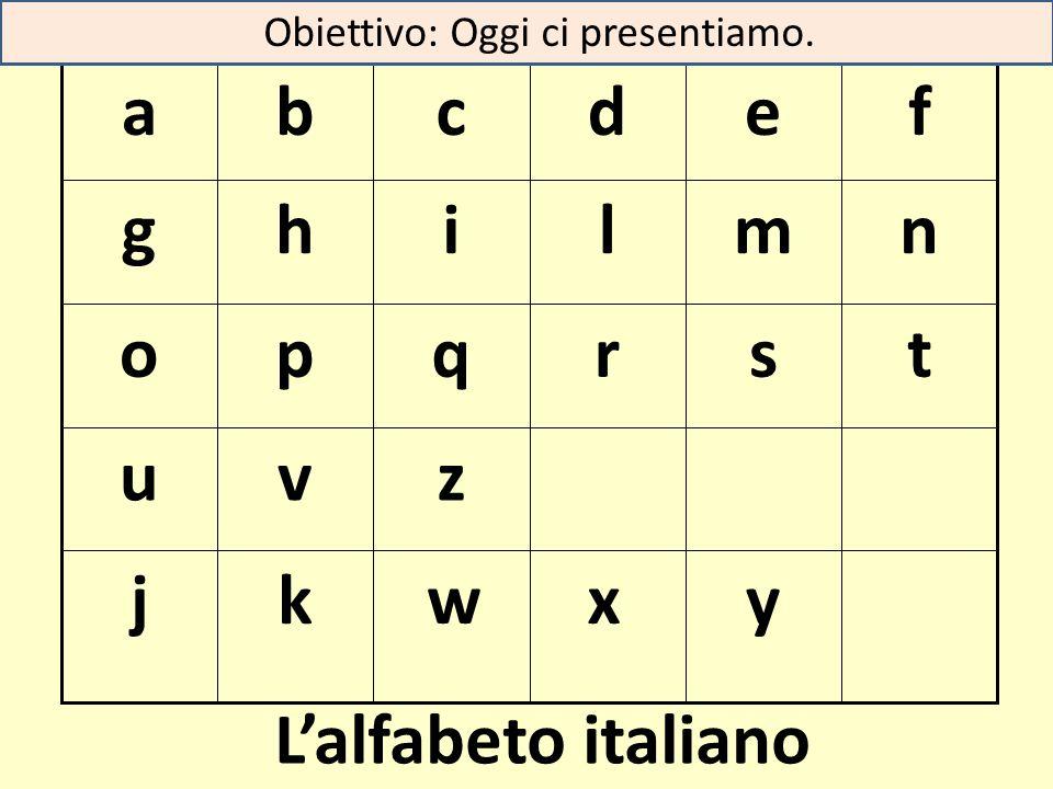 y xw kj zvu tsrqpo nmlihg fedcba L'alfabeto italiano Obiettivo: Oggi ci presentiamo.
