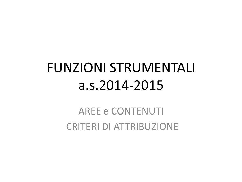 FUNZIONI STRUMENTALI a.s.2014-2015 AREE e CONTENUTI CRITERI DI ATTRIBUZIONE