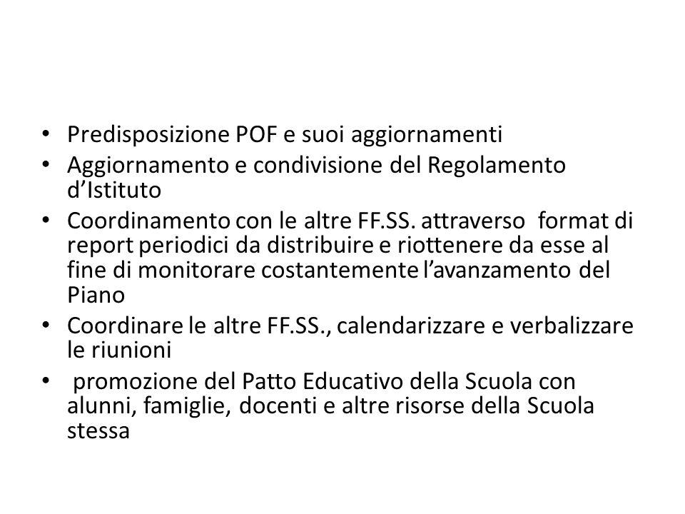 Predisposizione POF e suoi aggiornamenti Aggiornamento e condivisione del Regolamento d'Istituto Coordinamento con le altre FF.SS.