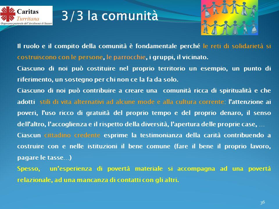 36 Il ruolo e il compito della comunità è fondamentale perché le reti di solidarietà si costruiscono con le persone, le parrocchie, i gruppi, il vicinato.