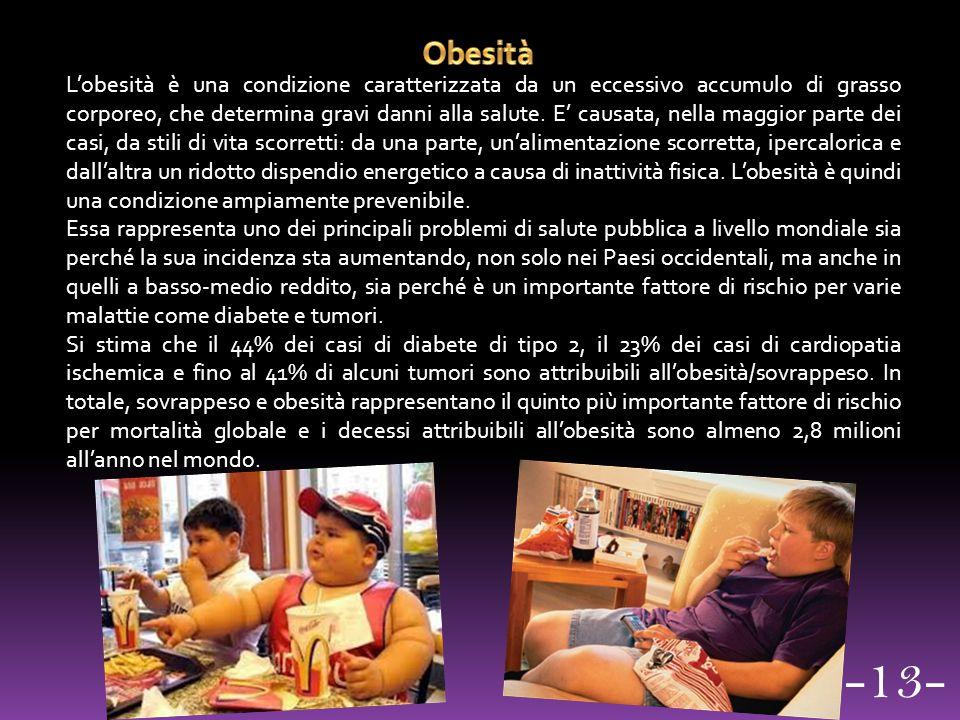 L'obesità è una condizione caratterizzata da un eccessivo accumulo di grasso corporeo, che determina gravi danni alla salute. E' causata, nella maggio