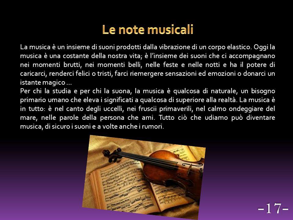 La musica è un insieme di suoni prodotti dalla vibrazione di un corpo elastico. Oggi la musica è una costante della nostra vita; è l'insieme dei suoni