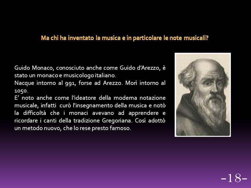 Guido Monaco, conosciuto anche come Guido d'Arezzo, è stato un monaco e musicologo italiano. Nacque intorno al 991, forse ad Arezzo. Morì intorno al 1