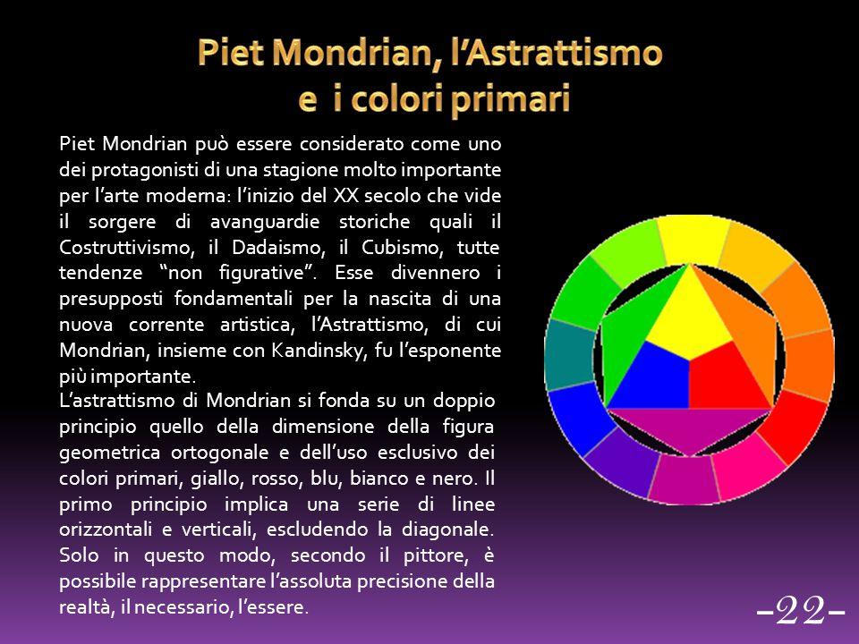 Piet Mondrian può essere considerato come uno dei protagonisti di una stagione molto importante per l'arte moderna: l'inizio del XX secolo che vide il