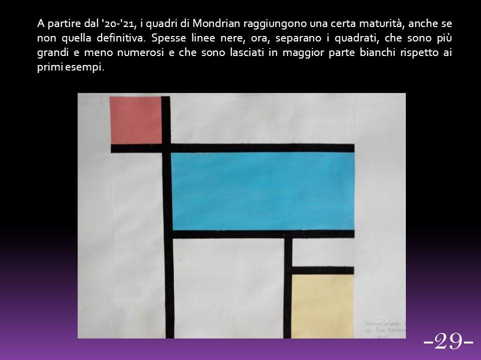 A partire dal '20-'21, i quadri di Mondrian raggiungono una certa maturità, anche se non quella definitiva. Spesse linee nere, ora, separano i quadrat
