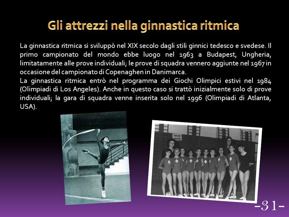 La ginnastica ritmica si sviluppò nel XIX secolo dagli stili ginnici tedesco e svedese. Il primo campionato del mondo ebbe luogo nel 1963 a Budapest,