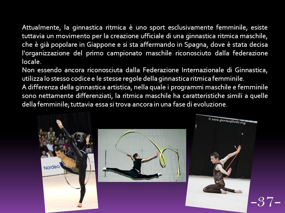 Attualmente, la ginnastica ritmica è uno sport esclusivamente femminile, esiste tuttavia un movimento per la creazione ufficiale di una ginnastica rit
