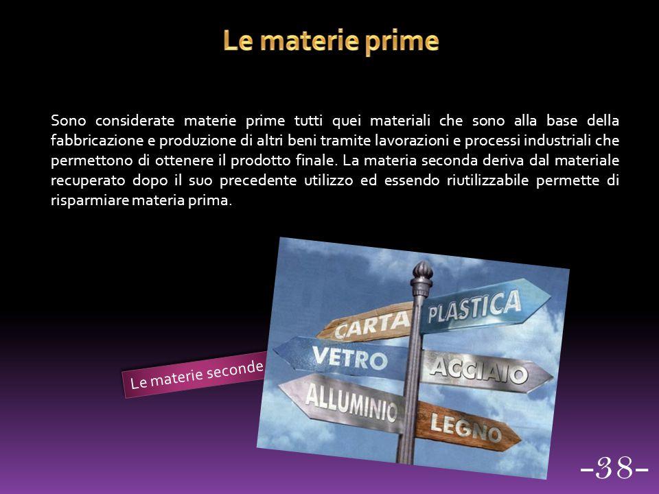 Sono considerate materie prime tutti quei materiali che sono alla base della fabbricazione e produzione di altri beni tramite lavorazioni e processi i