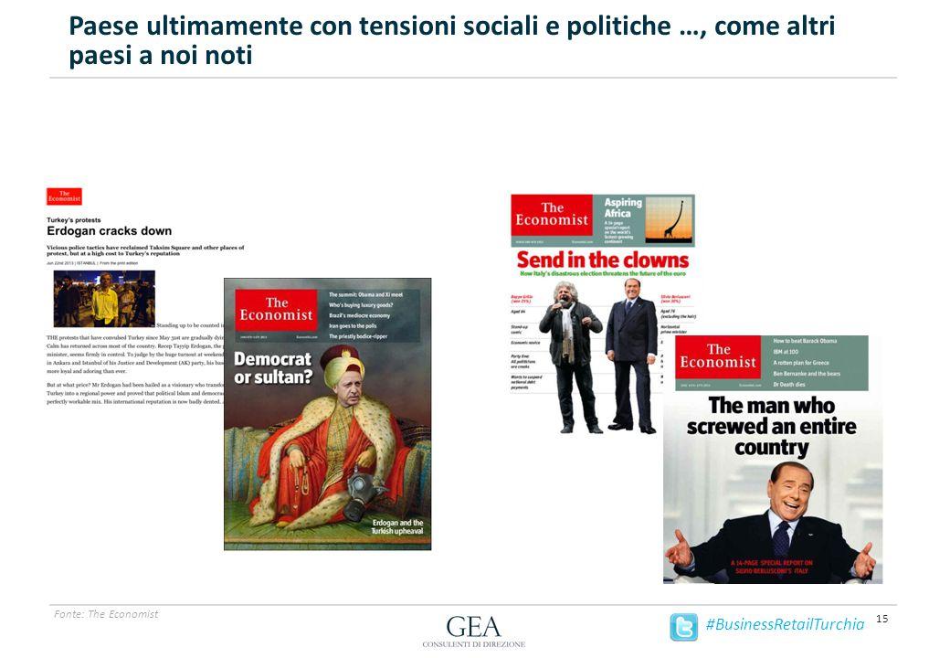 Paese ultimamente con tensioni sociali e politiche …, come altri paesi a noi noti 15 Fonte: The Economist #BusinessRetailTurchia