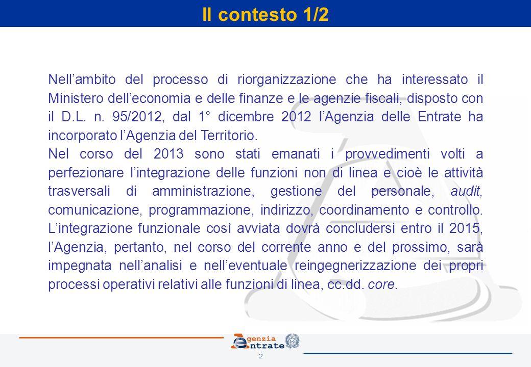2 Il contesto 1/2 Nell'ambito del processo di riorganizzazione che ha interessato il Ministero dell'economia e delle finanze e le agenzie fiscali, disposto con il D.L.