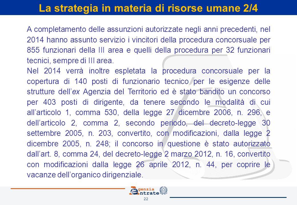 22 La strategia in materia di risorse umane 2/4 A completamento delle assunzioni autorizzate negli anni precedenti, nel 2014 hanno assunto servizio i