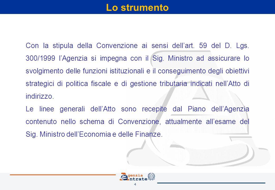4 Lo strumento Con la stipula della Convenzione ai sensi dell'art. 59 del D. Lgs. 300/1999 l'Agenzia si impegna con il Sig. Ministro ad assicurare lo