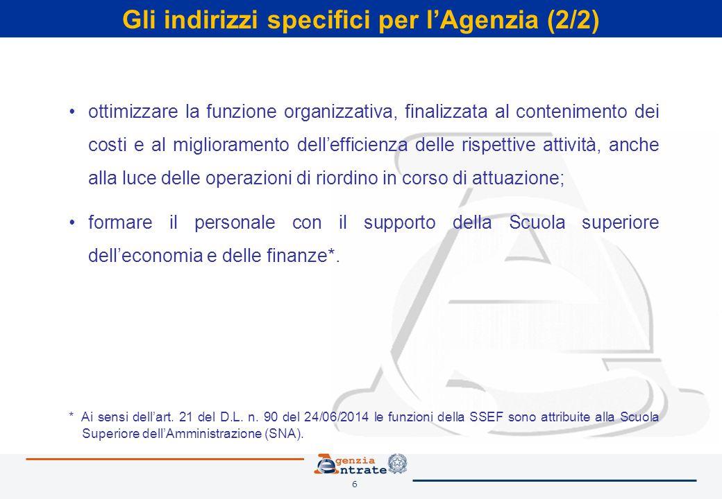 6 Gli indirizzi specifici per l'Agenzia (2/2) ottimizzare la funzione organizzativa, finalizzata al contenimento dei costi e al miglioramento dell'eff
