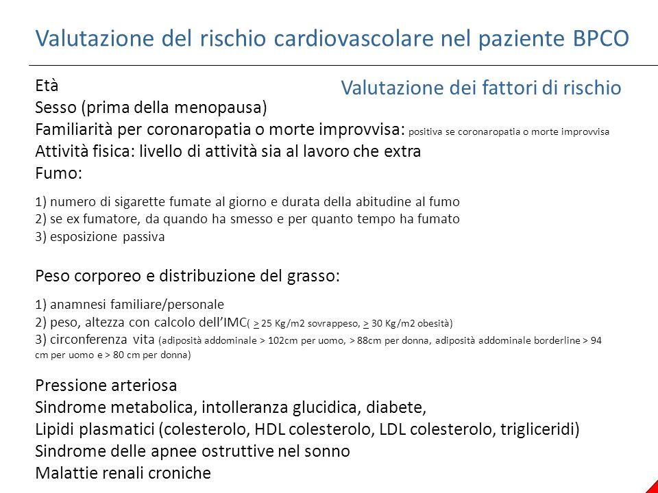 Valutazione del rischio cardiovascolare nel paziente BPCO Valutazione dei fattori di rischio Età Sesso (prima della menopausa) Familiarità per coronar