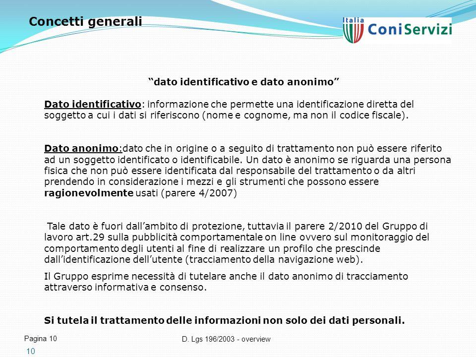 """D. Lgs 196/2003 - overview Pagina 10 10 """"dato identificativo e dato anonimo"""" Dato identificativo: informazione che permette una identificazione dirett"""