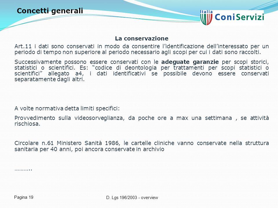 D. Lgs 196/2003 - overview Pagina 19 La conservazione Art.11 i dati sono conservati in modo da consentire l'identificazione dell'interessato per un pe
