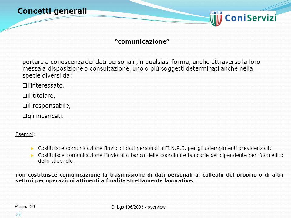 """D. Lgs 196/2003 - overview Pagina 26 26 """"comunicazione"""" portare a conoscenza dei dati personali,in qualsiasi forma, anche attraverso la loro messa a d"""