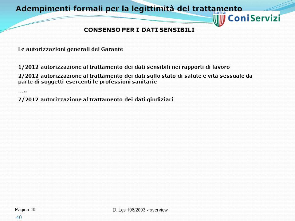 D. Lgs 196/2003 - overview Pagina 40 40 CONSENSO PER I DATI SENSIBILI Le autorizzazioni generali del Garante 1/2012 autorizzazione al trattamento dei