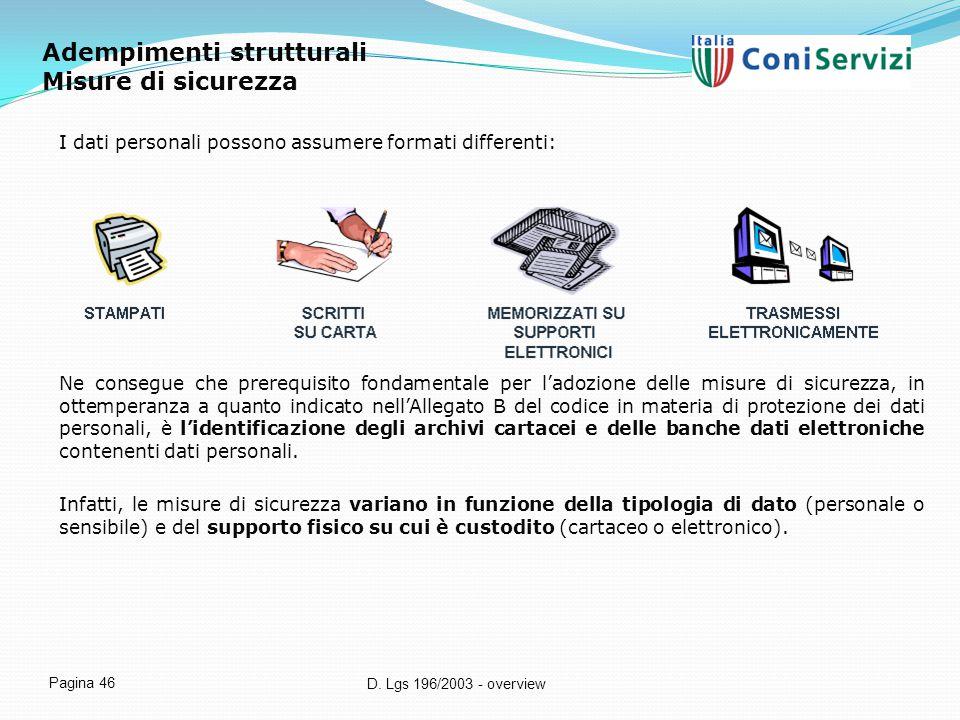 D. Lgs 196/2003 - overview Pagina 46 Adempimenti strutturali Misure di sicurezza I dati personali possono assumere formati differenti: Ne consegue che