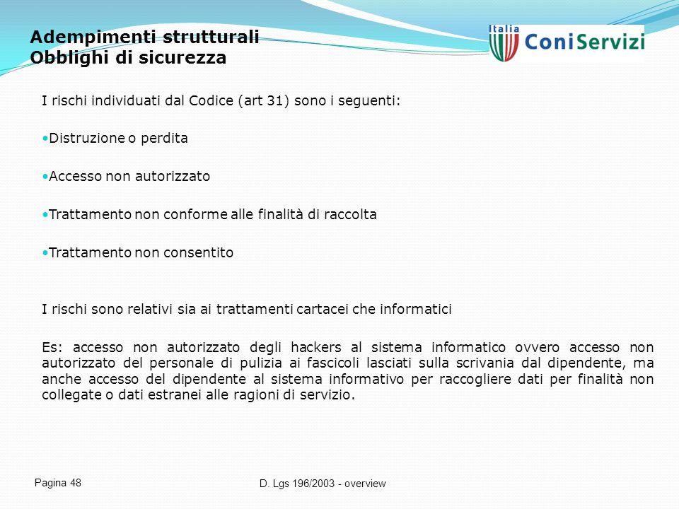 D. Lgs 196/2003 - overview Pagina 48 Adempimenti strutturali Obblighi di sicurezza I rischi individuati dal Codice (art 31) sono i seguenti: Distruzio