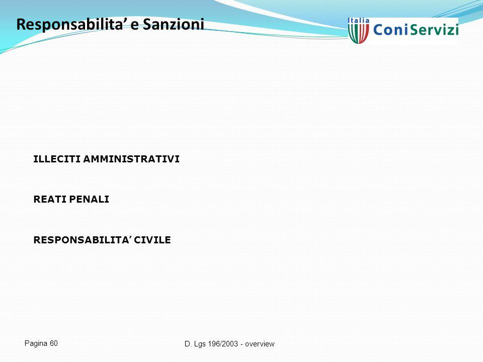 D. Lgs 196/2003 - overview Pagina 60 Responsabilita' e Sanzioni ILLECITI AMMINISTRATIVI REATI PENALI RESPONSABILITA' CIVILE
