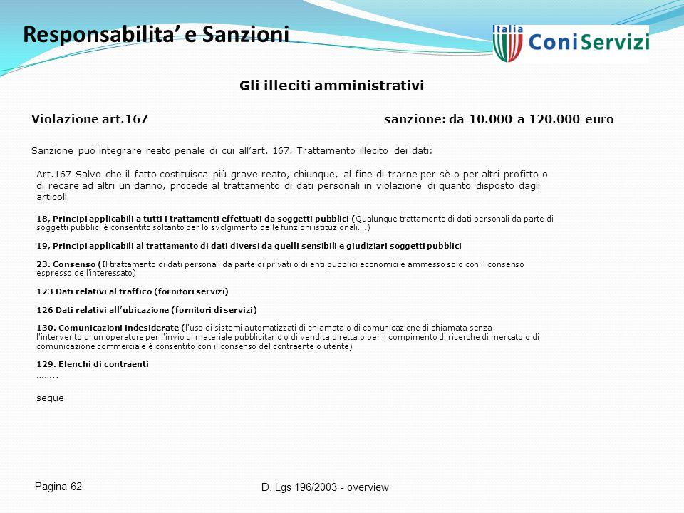 D. Lgs 196/2003 - overview Pagina 62 Responsabilita' e Sanzioni Gli illeciti amministrativi Violazione art.167sanzione: da 10.000 a 120.000 euro Sanzi