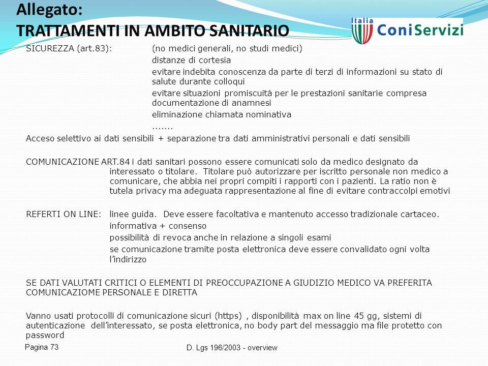 D. Lgs 196/2003 - overview Pagina 73 Allegato: TRATTAMENTI IN AMBITO SANITARIO SICUREZZA (art.83):(no medici generali, no studi medici) distanze di co