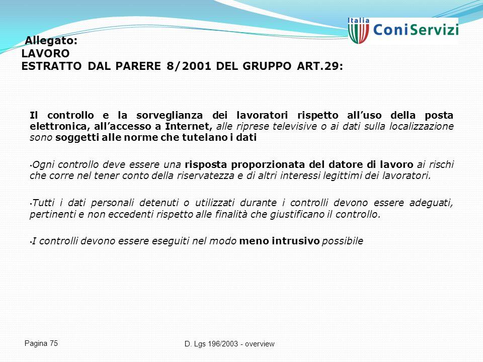 D. Lgs 196/2003 - overview Pagina 75 Allegato: LAVORO ESTRATTO DAL PARERE 8/2001 DEL GRUPPO ART.29: Il controllo e la sorveglianza dei lavoratori risp